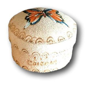 Vintage Hand Painted Butterfly Trinket Round Box